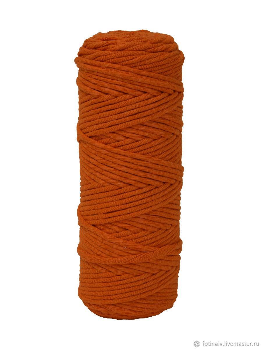 Cotton twine 4mm Orange, Yarn, Petrozavodsk,  Фото №1