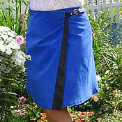 Одежда ручной работы. Ярмарка Мастеров - ручная работа Юбка из нат-ной замши униве-ного размера синего цвета. Handmade.