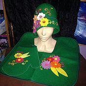 Для дома и интерьера ручной работы. Ярмарка Мастеров - ручная работа Банный комплект Зеленая опушка. Handmade.