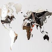 Дизайн и реклама handmade. Livemaster - original item Mirrored world Map 90h54 cm. Handmade.