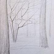 Картины и панно ручной работы. Ярмарка Мастеров - ручная работа Рисунок деревьев. Ранняя весна в парке.. Handmade.