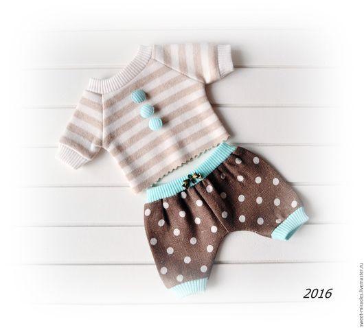 Одежда для кукол ручной работы. Ярмарка Мастеров - ручная работа. Купить Набор одежды на Куклу-малыш. Handmade. Коричневый, молочный
