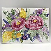 Картины и панно handmade. Livemaster - original item Watercolor greeting card flowers painting peonies. Handmade.