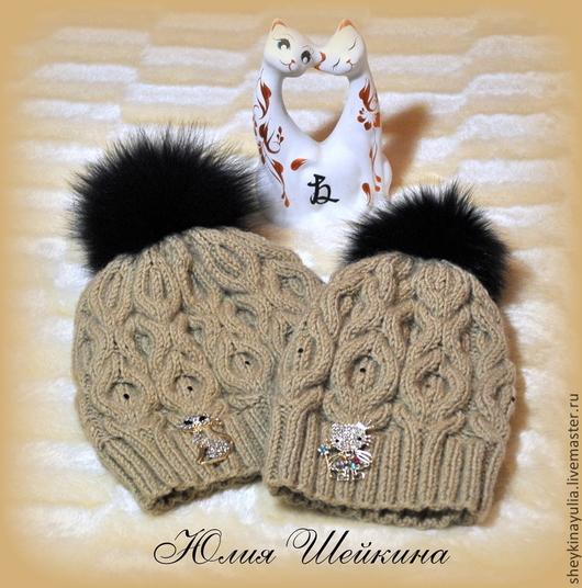 Шапки ручной работы. Ярмарка Мастеров - ручная работа. Купить Шапочки для мамы и дочки, FAMILY LOOK, шапка вязаная. Handmade.