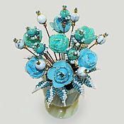 Цветы и флористика handmade. Livemaster - original item Flowers of turquoise and cacholong (milk opal)