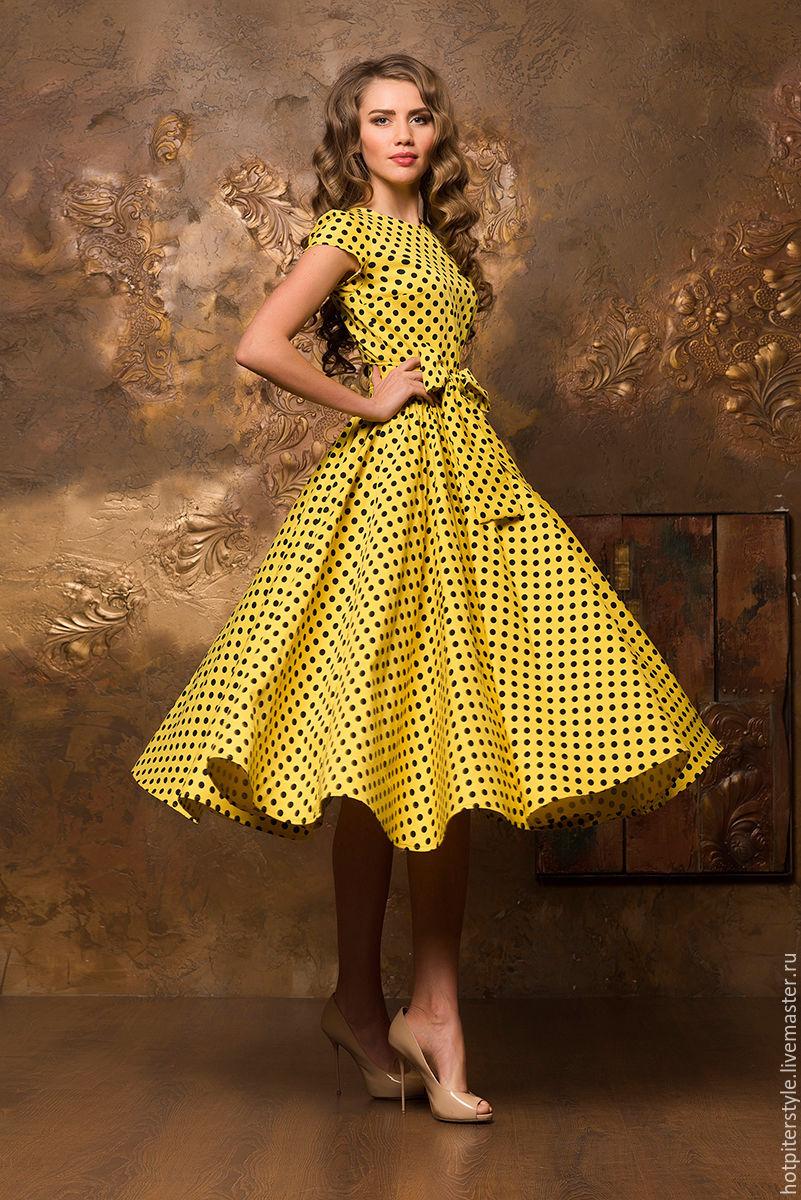 Желтое платье в стиле 60