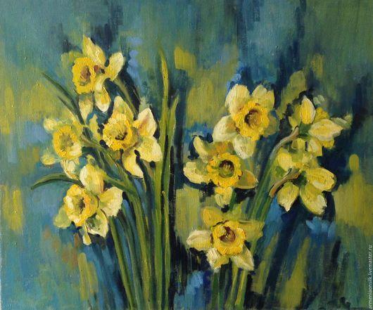 """Картины цветов ручной работы. Ярмарка Мастеров - ручная работа. Купить Картина маслом """" Желтая весна """". Handmade."""