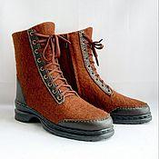 handmade. Livemaster - original item Solid-felted boots on Chestnut lock. Handmade.