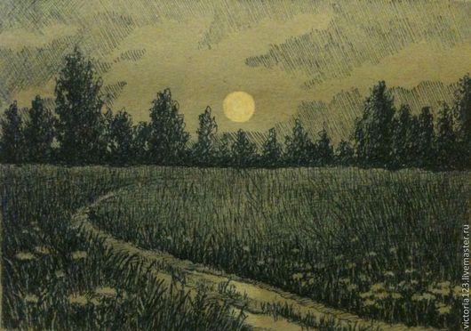 Пейзаж ручной работы. Ярмарка Мастеров - ручная работа. Купить Полная луна. Handmade. Чёрно-белый, графика, пейзаж, луна