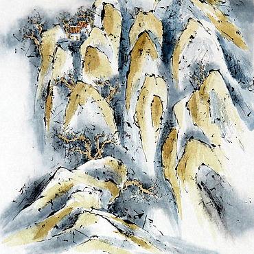 Картины и панно ручной работы. Ярмарка Мастеров - ручная работа Китайский пейзаж Под облаками(картина горы туман облака домики). Handmade.