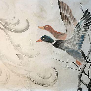 Картины и панно ручной работы. Ярмарка Мастеров - ручная работа На крыльях любви (китайская живопись, акварель). Handmade.