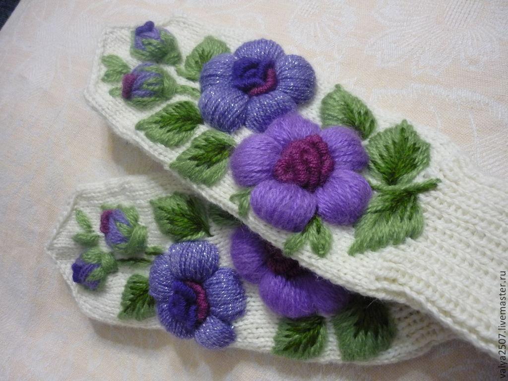 Вышивка по трикотажному полотну цветы 38