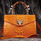 Сумки и аксессуары handmade. Livemaster - original item Handbag for women, from the embossed part of crocodile skin, in orange.. Handmade.