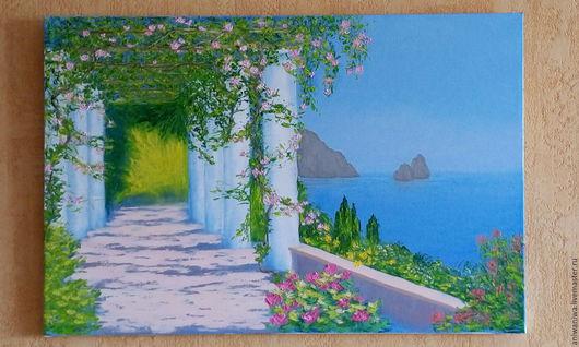 Пейзаж ручной работы. Ярмарка Мастеров - ручная работа. Купить Солнечное средиземноморье. Handmade. Голубой, солнце