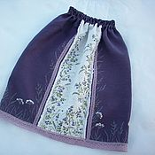 Одежда handmade. Livemaster - original item Skirts: Linen skirt with embroidery and painting Forest Fairy. Handmade.