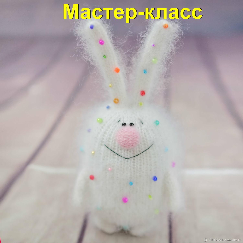 мастер класс конфетный заяц спицами вязаный зайчик игрушка описание