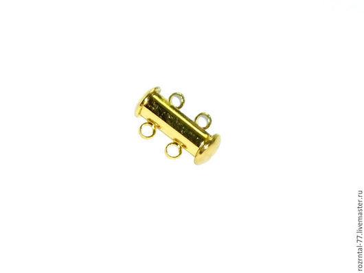 Замок магнитный Слайдер на 2 нити  размер 10х15х6 мм, цвет золото.
