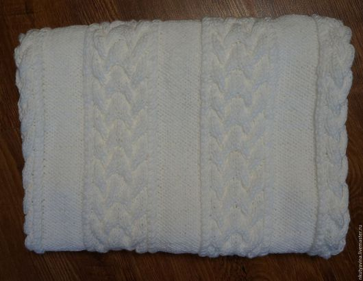 """Текстиль, ковры ручной работы. Ярмарка Мастеров - ручная работа. Купить Плед вязаный """"Снег"""". Handmade. Белый, плед вязаный"""