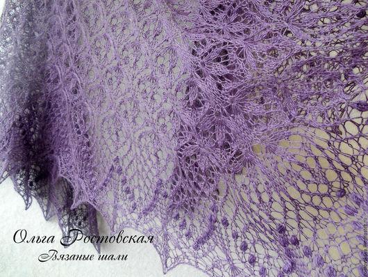 """Шали, палантины ручной работы. Ярмарка Мастеров - ручная работа. Купить Шаль вязаная, ажурная вязанная шаль спицами  """"Цветочное эхо"""". Handmade."""