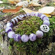 Фен-шуй и эзотерика handmade. Livemaster - original item Amethyst Amulet Bracelet with JI 2 eyes Bead. Handmade.