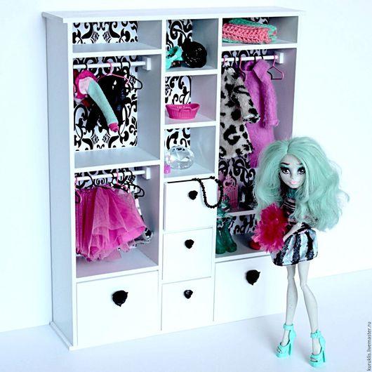 Кукольный дом ручной работы. Ярмарка Мастеров - ручная работа. Купить Большой бело-черный шкаф для куколок Monster High и др. Handmade.