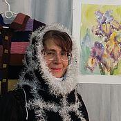 """Аксессуары ручной работы. Ярмарка Мастеров - ручная работа Снуд двойной трикотажный с вышивкой"""" шедевр"""" в черно - белом цвете. Handmade."""