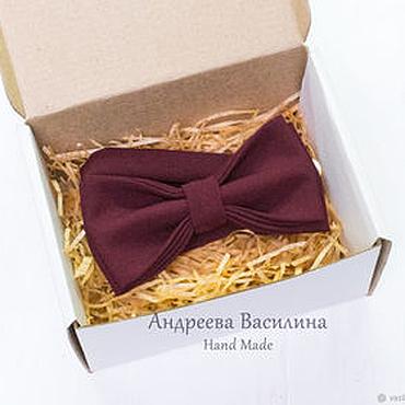 Accessories handmade. Livemaster - original item Burgundy wine solid bow tie Marsala. Handmade.