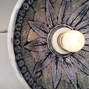 Для дома и интерьера ручной работы. Ярмарка Мастеров - ручная работа Керамический светильник с набивным рисунком «Кобальт» диаметр 24 см. Handmade.