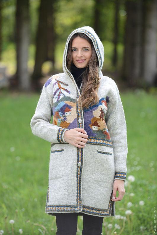 Верхняя одежда ручной работы. Ярмарка Мастеров - ручная работа. Купить Пальто вязаное 16wj01. Handmade. Серый, пальто вязаное