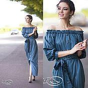 Одежда ручной работы. Ярмарка Мастеров - ручная работа Платье макси в полосочку - сизый синий в тонкую белую полоску. Handmade.