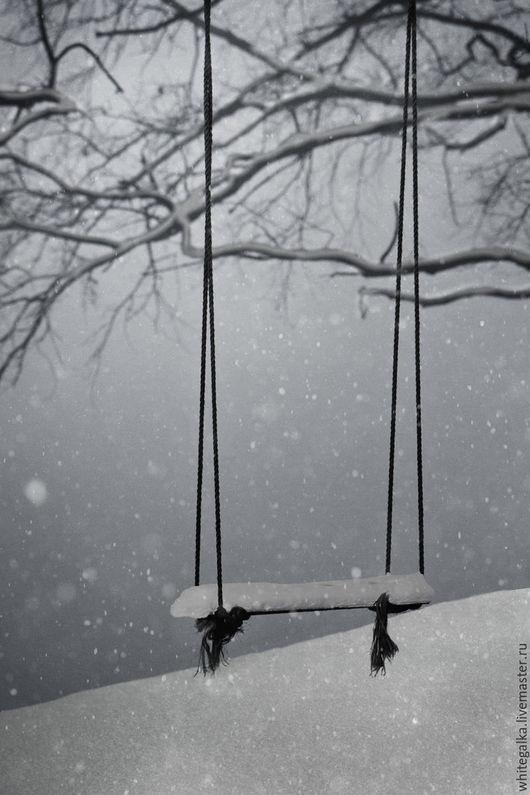 Фотокартины ручной работы. Ярмарка Мастеров - ручная работа. Купить качели туманным зимним утром. Handmade. Фотокартина, фотография, фоторамка