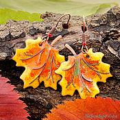"""Украшения ручной работы. Ярмарка Мастеров - ручная работа Серьги """"Кленовые листья"""" желтые горячая эмаль. Handmade."""