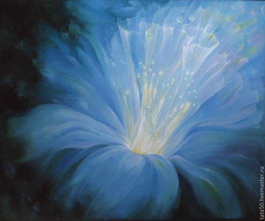 """Фантазийные сюжеты ручной работы. Ярмарка Мастеров - ручная работа. Купить """"Голос  безмолвия"""". Handmade. Голубой, руки, цветок"""