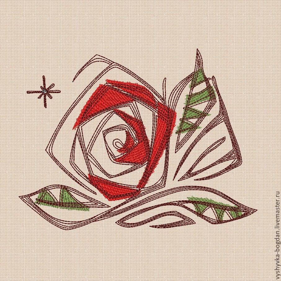 Machine embroidery design bt204_Rosa ART. The folders contain embroidery formats pes, hus, jef, dst, exp, vp3, vip, xxx.