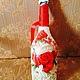 Подарочное оформление бутылок ручной работы. Декорирование Бутылки. Марина (Marvidecor). Ярмарка Мастеров. Шампанское, лента атласная