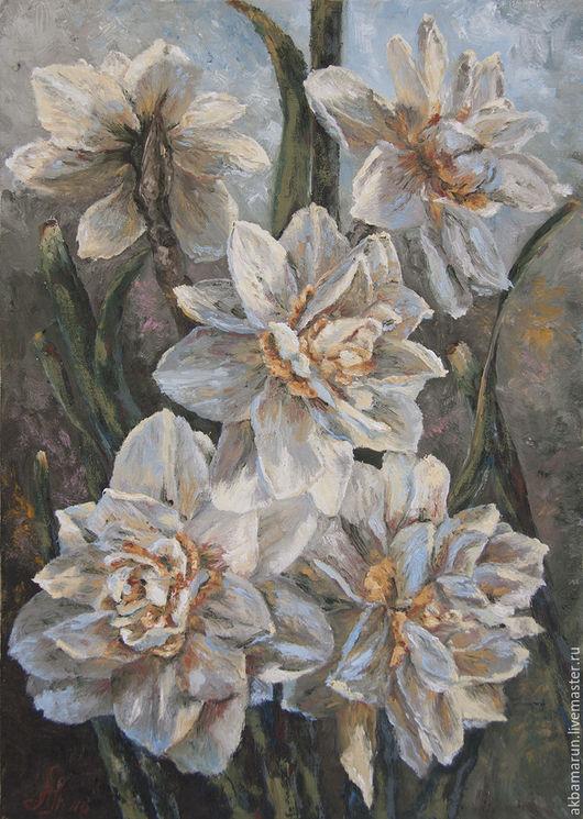 Картины цветов ручной работы. Ярмарка Мастеров - ручная работа. Купить Нарциссы. Handmade. Цветы, цветочный натюрморт, подарок девушке