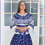 Русский стиль handmade. Livemaster - original item Dress blue Golubushka linen Russian Slavic. Handmade.