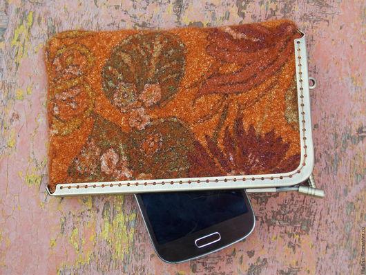Для телефонов ручной работы. Ярмарка Мастеров - ручная работа. Купить Чеxол для телефона/кошелек Оранжевое Лето. Handmade. Рыжий