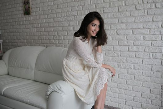 """Платья ручной работы. Ярмарка Мастеров - ручная работа. Купить Платье """"Нежность"""". Handmade. Белый, платье кружевное, платье на заказ"""
