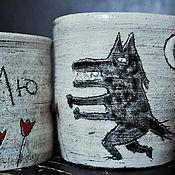 Кружки ручной работы. Ярмарка Мастеров - ручная работа Кружки: Волчьи /Лю/ с луною. Handmade.