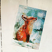 Открытки handmade. Livemaster - original item Large Christmas set of cards Foxes. Handmade.