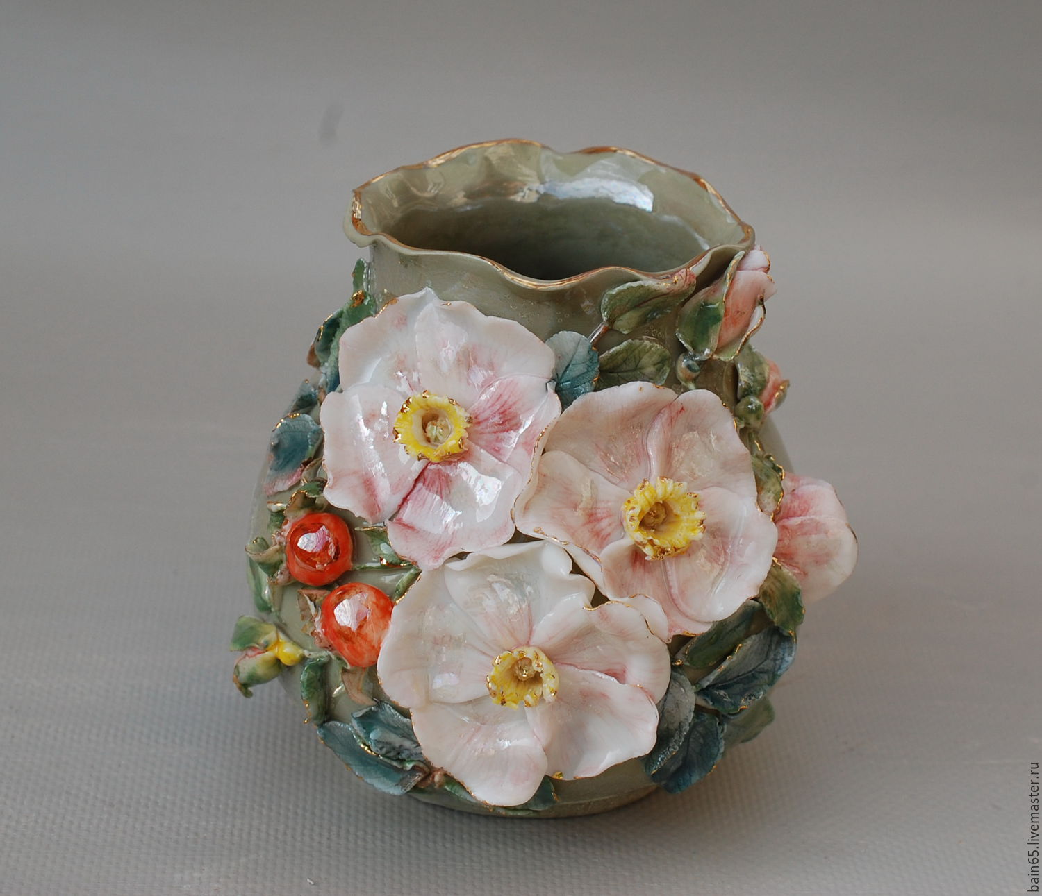 Pale Pink Wild Rosese Porcelain Shop Online On Livemaster With