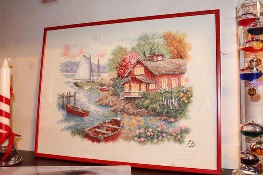 Пейзаж ручной работы. Ярмарка Мастеров - ручная работа. Купить Вышитая картина Домик у озера. Handmade. Комбинированный, вышивка