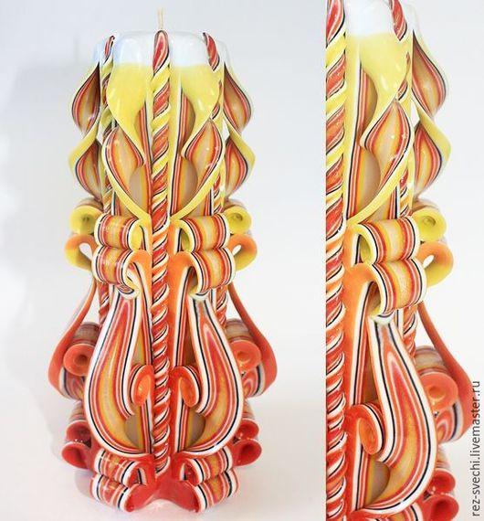 Резная Свеча Большая. Высота 21 см, время горения более 40 ч. Все Свечи надежно упакованы! Купить резные свечи. Резные свечи. Свечи резные интерьерные. Свадебные резные свечи семейный очаг