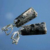Украшения handmade. Livemaster - original item Ash - earrings larvikite black moonstone large stones silver. Handmade.