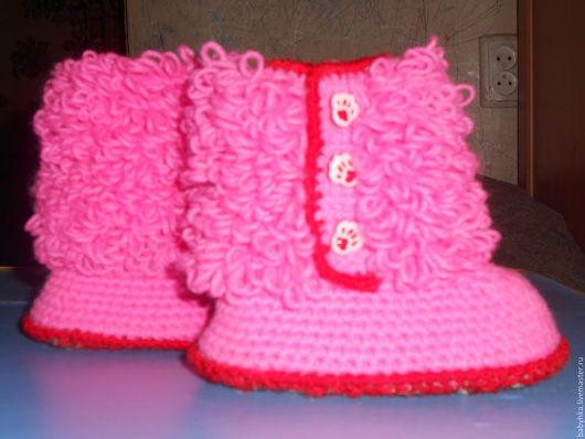 Детская обувь ручной работы. Ярмарка Мастеров - ручная работа. Купить Пинетки -сапожки. Handmade. Детская обувь, фуксия