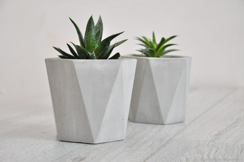 Almaz concrete planters with faces architecture, a Loft for cacti, Pots1, Azov,  Фото №1