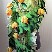 """Аксессуары ручной работы. Ярмарка Мастеров - ручная работа Палантин """"Потому что весна на душе..."""" + брошь-цветок. Handmade."""