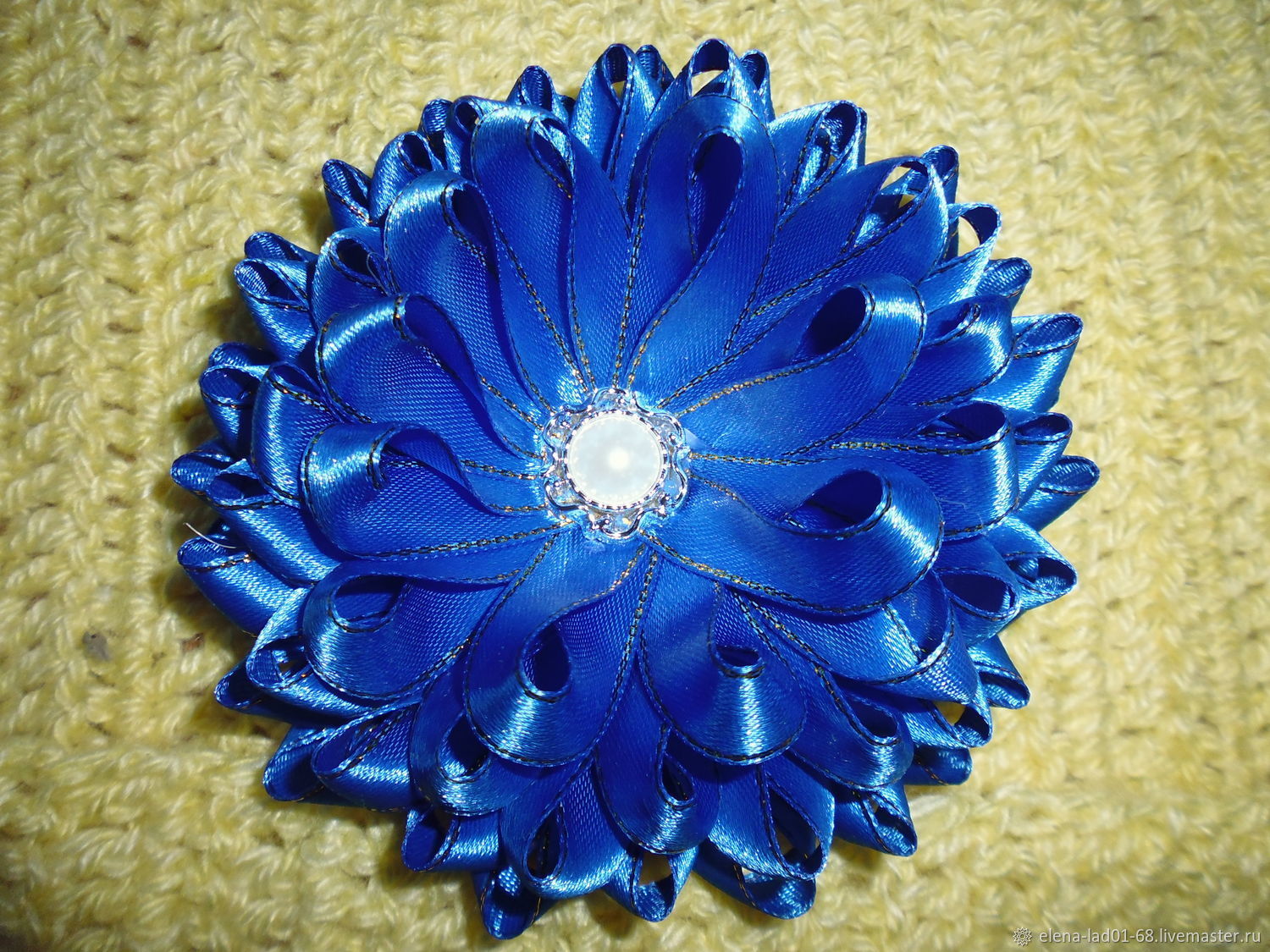 Elastic band for hair 'Blue flower' made of satin ribbons, Scrunchy, Engels,  Фото №1