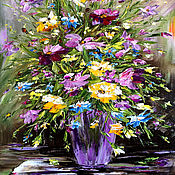Pictures handmade. Livemaster - original item Oil painting Bouquet of freshness. Handmade.